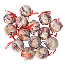 Set of 14 - Doll Decoration Shatterproof Balls with Ribbons in the Gift Box (Dia 7.5 Cm) - Beige