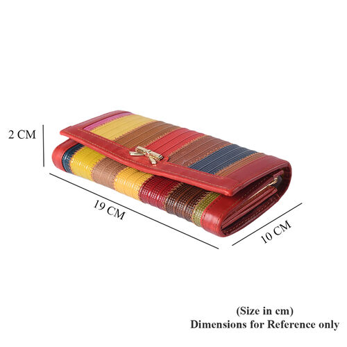 Multi Colour Genuine Leather Clutch Wallet (Size 19x2x10cm)