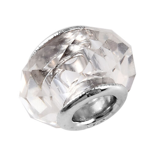 Charmes De Memoire Authentic Murano Style Glass Charm in Platinum Overlay Sterling Silver