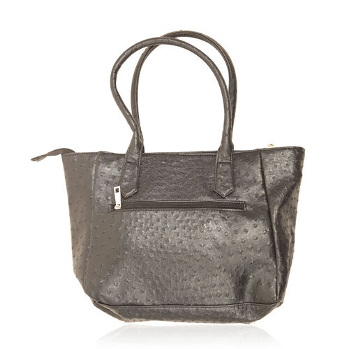 Ostrich Pattern Black Colour Hand Bag (Size 16x4.5x10 inch)