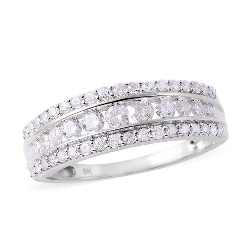 1 Carat Diamond Band Ring in 9K White Gold 3.30 Grams SGL Certified I3 GH
