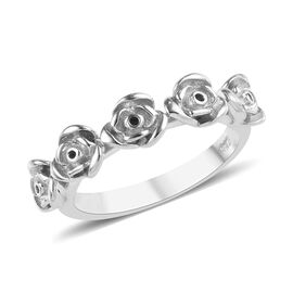 Platinum Overlay Sterling Silver Rose Ring