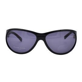 Jean Louis Unisex Oversized Black Sunglasses with Grey Lenses