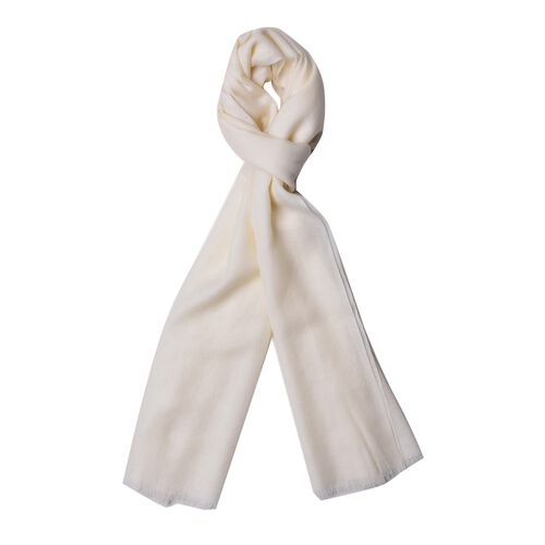 Super Soft-100% Wool White Colour Scarf with Fringes (Size 190X70 Cm)