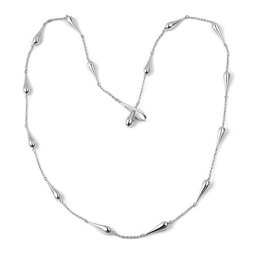LucyQ Continual Drip Necklace (Size 29) in Rhodium Plated Sterling Silver 41.97 Gms.