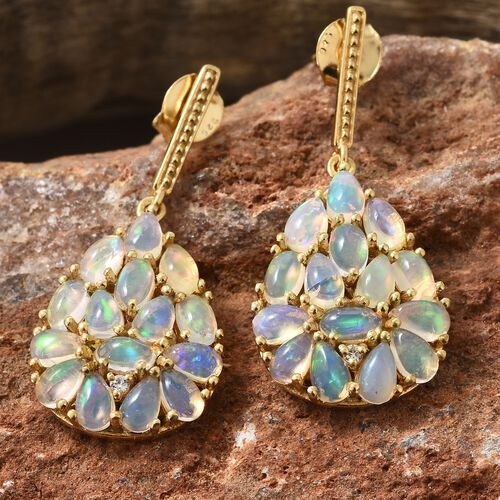 Ethiopian Welo Opal (Ovl and Pear), Natural Cambodian Zircon Earrings (with Push Back) in 14K Gold Overlay Sterling Silver 4.250 Ct.