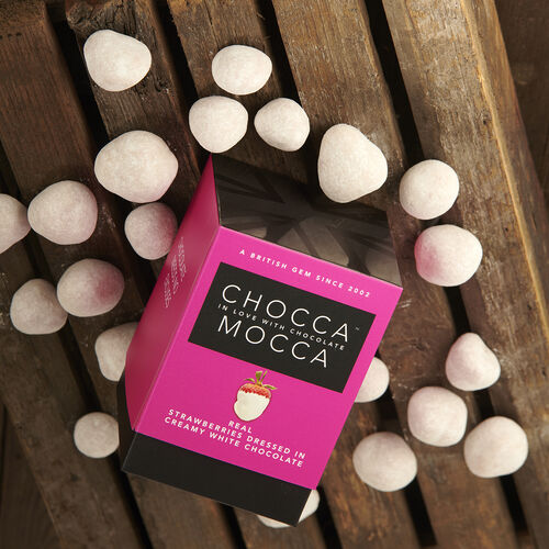 Chocca Mocca - Strawberries Coated in White Chocolate - 100g