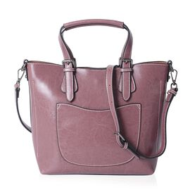 Close Out 100% Genuine Leather Purple Large Tote Bag with Removable Shoulder Strap (Size 33x25x24x12 Cm)