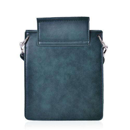 Dark Green Colour Crossbody Bag with Adjustable and Removable Shoulder Strap (Size 27x20x7 Cm)