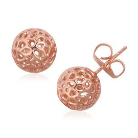 RACHEL GALLEY Rose Gold Overlay Sterling Silver Globe Stud Earrings (with Push Back) Silver Wt 4.67 Gms