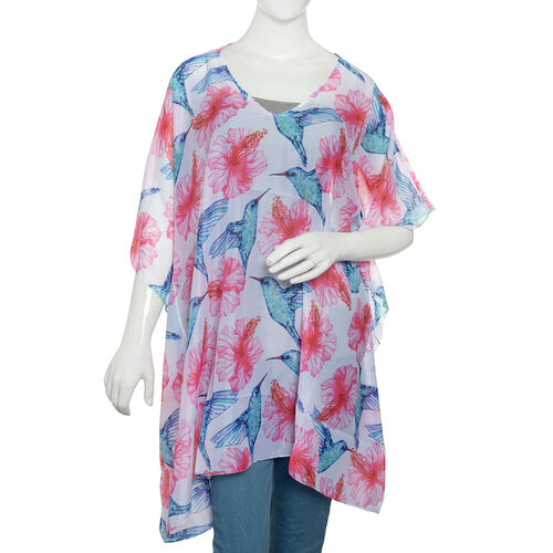 New Season- Pink, Blue and Multi Colour Bird and Floral Printed Kaftan (Size 90x65)