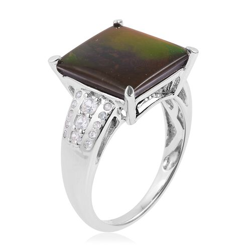 Canadian Ammolite (Sqr 4.25 Ct), Natural White Cambodian Zircon Ring in Rhodium Plated Sterling Silver 4.630 Ct.
