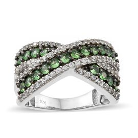 Designer Inspired-Tsavorite Garnet (Rnd), Natural Cambodian Zircon Criss Cross Ring in Platinum and Black Rhodium Overlay Sterling Silver Ring 2.000 Ct. Silver wt 6.53 Gms. Stone Set 90 Pcs