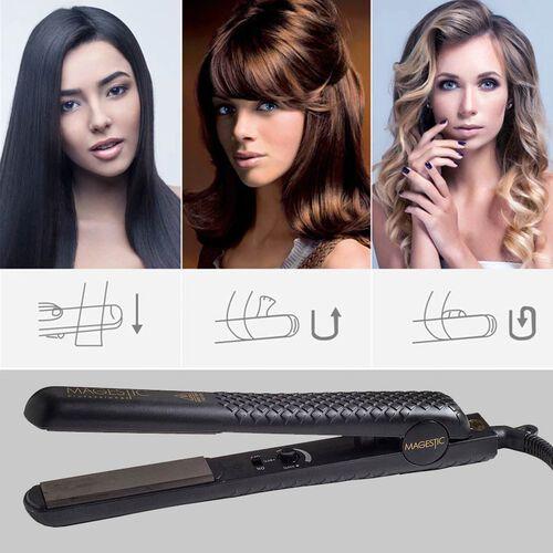 Magestic: Ceramic Hair Straightener (Size 27x3cm) - Black - 1.25in