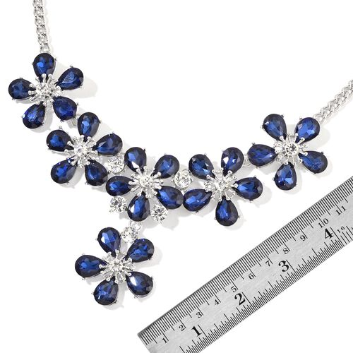 Simulated Blue Sapphire and White Austrian Crystal Flower Necklace (Size 21 with 2 inch Extender) in Silver Tone
