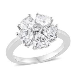 J Francis - Platinum Overlay Sterling Silver (Hrt and Rnd) Floral Ring Made with SWAROVSKI ZIRCONIA