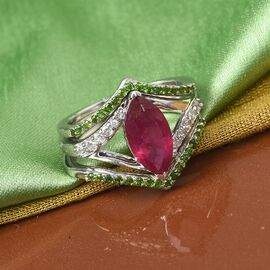 Set of 3 - Russian Diopside, African Ruby (FF) and Natural Cambodian Zircon Ring in Platinum Overlay
