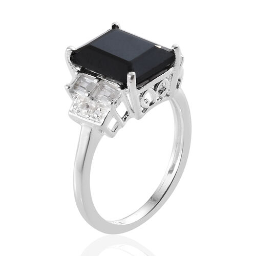 Boi Ploi Black Spinel (Oct 10x8 mm, 4.50 Ct.), White Topaz Ring in Sterling Silver 5.000 Ct.