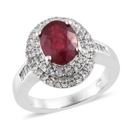 Designer Inspired- African Ruby (Ovl 9x7mm ), Natural White Cambodian Zircon Double Halo Ring in Pla