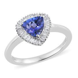 WEBEX- Rhapsody AAAA Tanzanite (1.00 Ct) and Diamond 950 Platinum Ring  1.250  Ct.