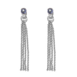 Freshwater Peacock Pearl (Rnd), Natural Cambodian Zircon Dangle Earrings (with Push Back) in Platinum Overlay Sterling Silver