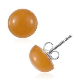 Yellow Jade Stud Earrings in Sterling Silver
