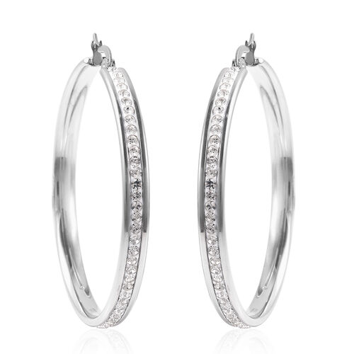Set of 2 - Rose Quartz and White Austrian Crystal Hoop Earrings (with Clasp) in Stainless Steel