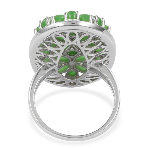 Green Jade (Mrq), Natural White Cambodian Zircon Flower Ring in Rhodium Plated Sterling Silver 9.420 Ct. Silver wt 6.79 Gms.