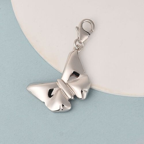 Butterfly Charm in Platinum Overlay Sterling Silver