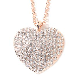 White Austrian Crystal (Rnd) Heart Necklace (Size 29) in Rose Gold Tone