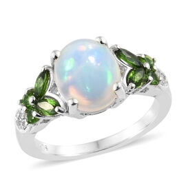 Ethiopian Welo Opal (Ovl 10x8 mm), Russian Diopside and Natural Cambodian Zircon Ring (Size O) in Platinum Ov