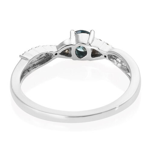 9K White Gold Blue Diamond (Rnd), White Diamond Ring