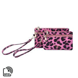 Set of 2 - 100% Genuine Leather Purple and Black Leopard Pattern RFID Clutch Wallet (18x10cm, 15x9cm