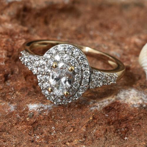 J Francis - 9K Yellow Gold (Ovl) Ring Made With SWAROVSKI ZIRCONIA