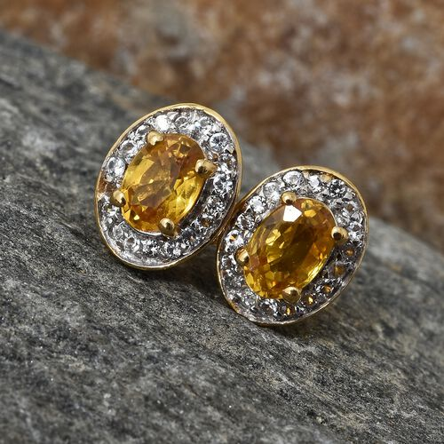 WEBEX- Yellow Sapphire (Ovl), White Topaz Halo Earrings (with Push Back) in 14K Gold Overlay Sterling Silver 1.500 Ct