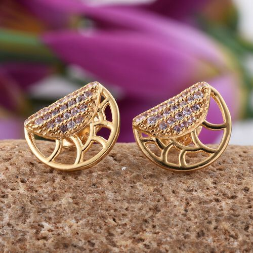 Pink Sapphire Silver Stud Earrings (with Push Back) in Gold Overlay