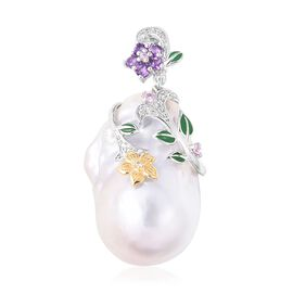 Jardin Collection - AAA Baroque Organic Pearl, Enamelled Pendant in Yellow in Sterling Silver