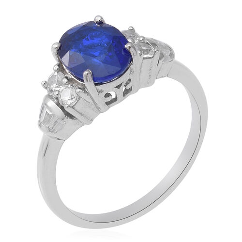 Tanzanian Blue Spinel and Natural Cambodian Zircon Ring in Rhodium Overlay Sterling Silver 2.70 Ct.