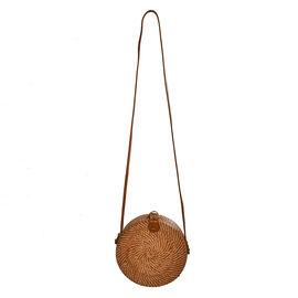 Bali Collection - Handcrafted Rattan Shoulder Bag with Batik Linner (Size:20x20x7Cm) - Light Brown
