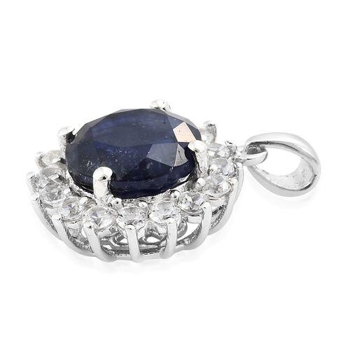 Masoala Sapphire (Rnd 5.25 Ct), Natural Cambodian Zircon Pendant in Platinum Overlay Sterling Silver 6.250 Ct.