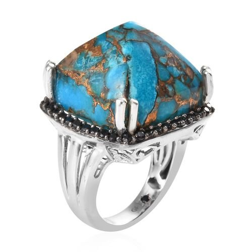 GP Mojave Blue Turquoise (Cush 18x18 mm), Boi Ploi Black Spinel and Blue Sapphire Pyramid Ring in Platinum Overlay Sterling Silver 33.25 Ct, Silver wt 7.83 Gms