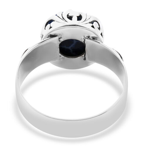 Royal Bali Collection - Blue Coral Filigree Ring in Sterling Silver