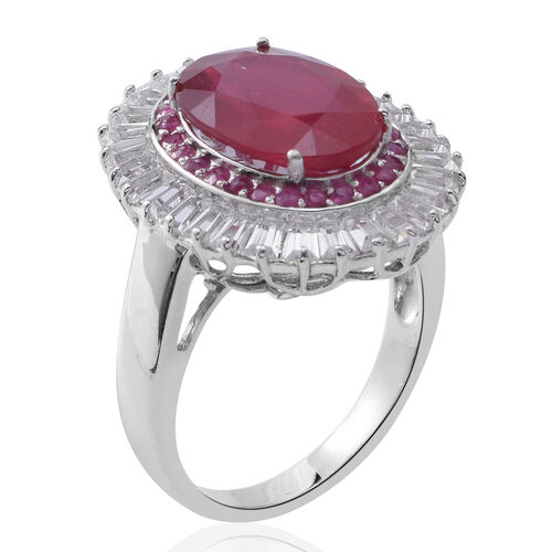 African Ruby (Ovl 8.00 Ct), White Topaz and Burmese Ruby Ring in Rhodium Plated Sterling Silver 11.750 Ct. Silver wt 7.25 Gms.
