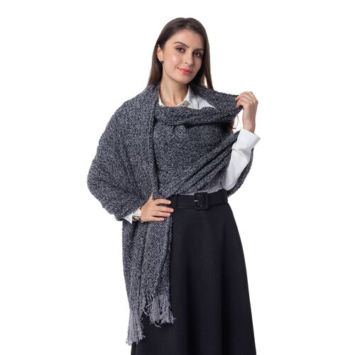 Designer Inspired-Grey and Black Colour Blanket Scarf (Size 200x64 Cm)