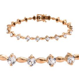 J Francis - Crystal from Swarovski White Crystal (Rnd) Bracelet (Size 7.5) in Gold Plated