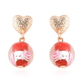 Red Murano Glass Earrings (with Push Back) in Gold Tone