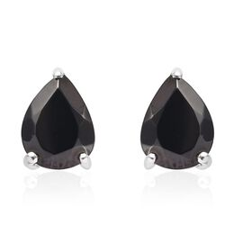 1 Carat Elite Shungite Drop Solitaire Earrings in Platinum Plated Sterling Silver