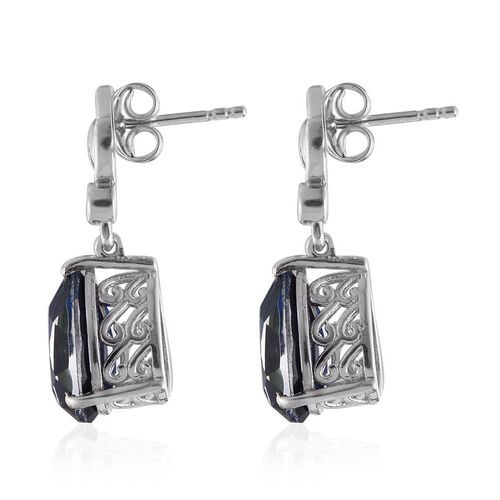 Ceylon Colour Quartz (Pear), Natural Cambodian Zircon Earrings (with Push Back) in Platinum Overlay Sterling Silver 6.250 Ct.