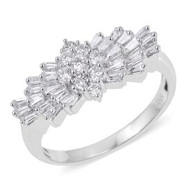 ILIANA 1 Carat Diamond Ballerina Ring in 18K White Gold IGI Certified SI GH