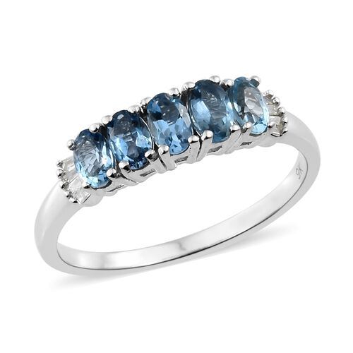 9K White Gold AA Santa Maria Aquamarine (Ovl), Diamond Ring 1.200 Ct.